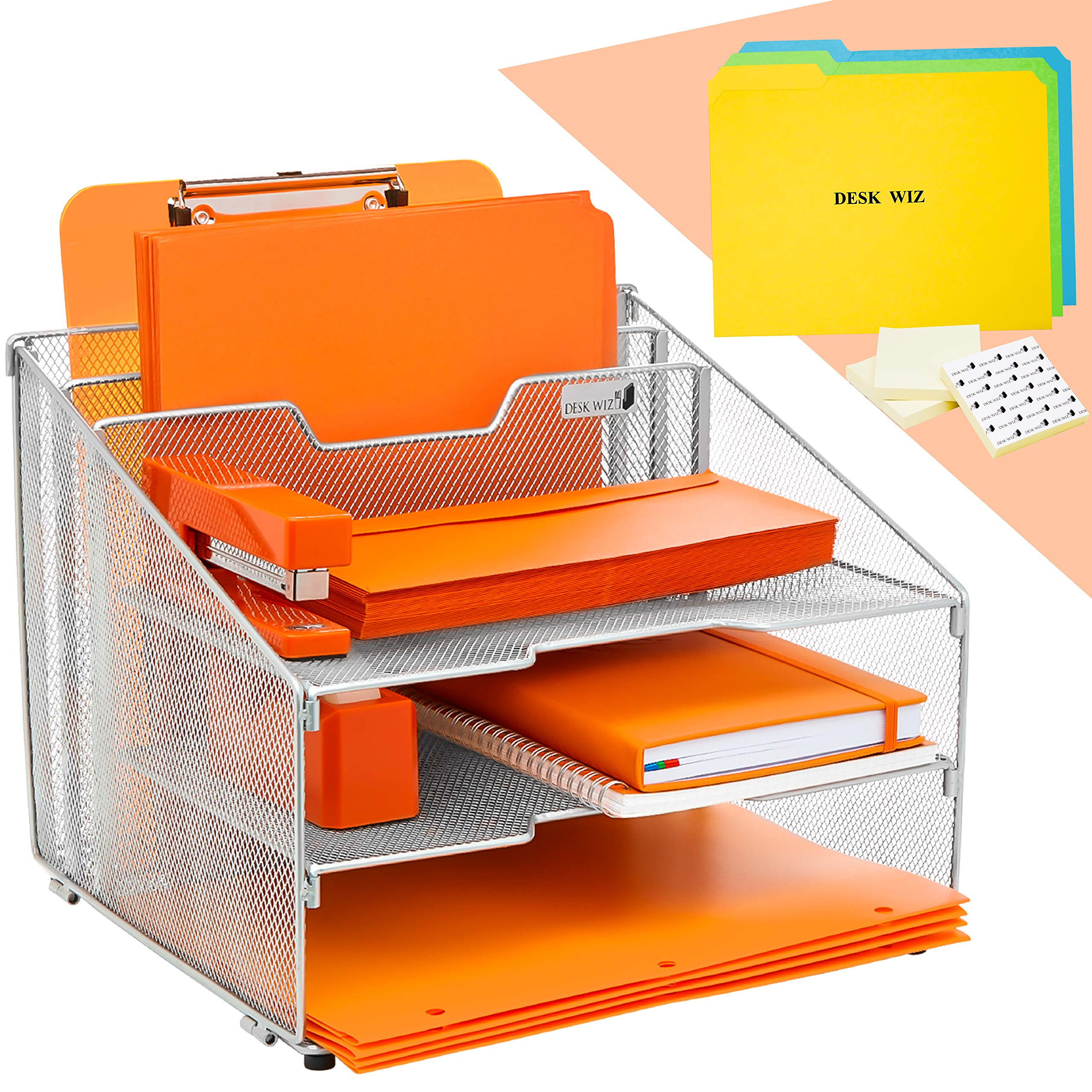 Desk Organizer File Folder Holder All-in-One with Non-Slip Rubber Feet by Desk Wiz | Silver Metal Mesh Office Desktop Supplies Accessories Organizer | Includes 3 Sticky Note Pads and 3 File Folders