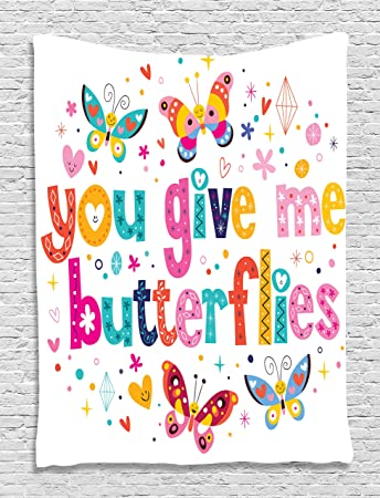 Amazon Com Butterfly Decor For Girls Tapestry By Ambesonne Love