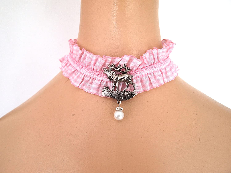 Maßkrugband Kropfband Strumpfband Haarband Armband rosa kariert Vichykaro von Moda Bavarica Hirsch Dirndl