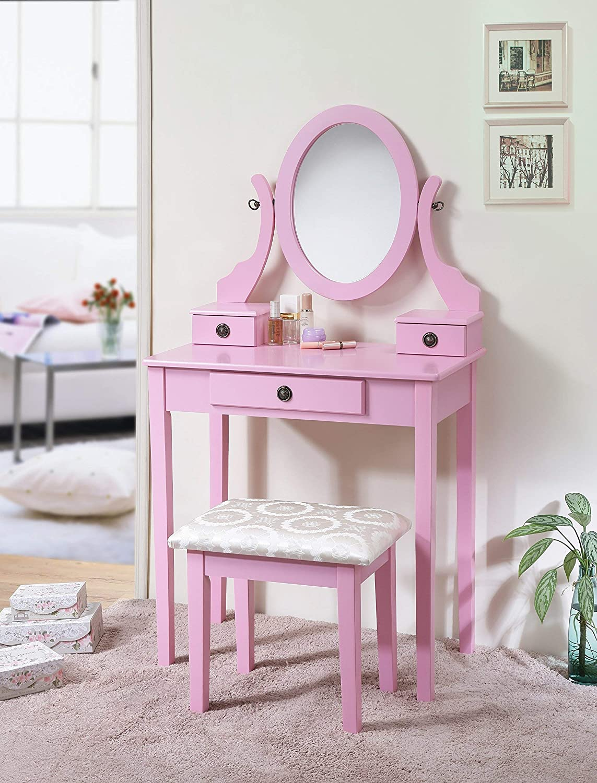 Roundhill Furniture 3415PI Moniys Moniya Pink Wood Makeup Vanity Table and Stool Set