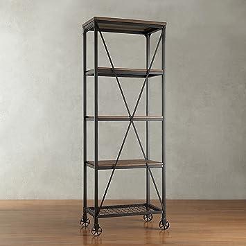 Modern Industrial Rustic Riveted Black Metal U0026 Wood Bookcase Shelf With  Decorative Wheels   Includes ModHaus