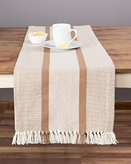 Charmant Sticky Toffee Cotton Woven Table Runner With Fringe, Traditional Diamond Tan,  14 In X