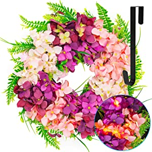 FUNPENY 16 Inch 40LED Pre-lit Pink Hydrangea Wreath with Lights, Artificial Spring Summer Wreath Decorations for Front Door, Windows, Bedroom, Living Room Kitchen, Fireplace Decor