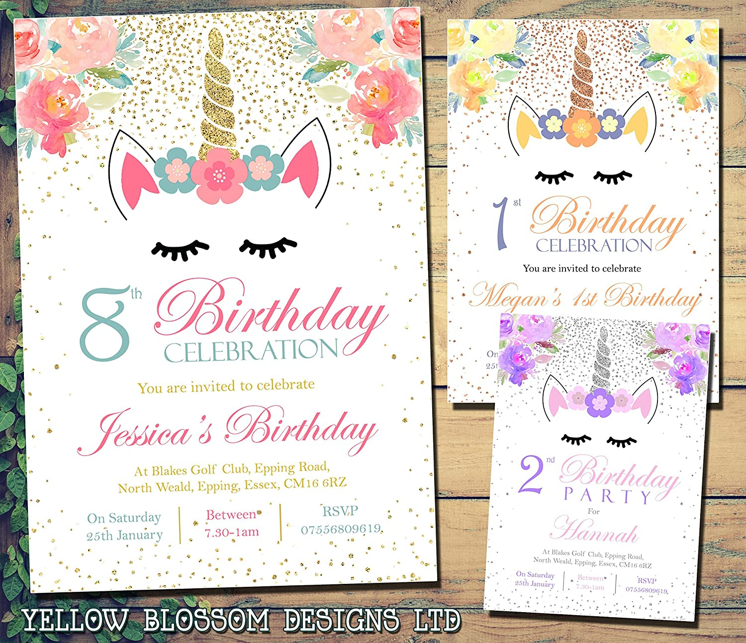 Unicorn Magical Stars Birthday Party Invitations Personalised