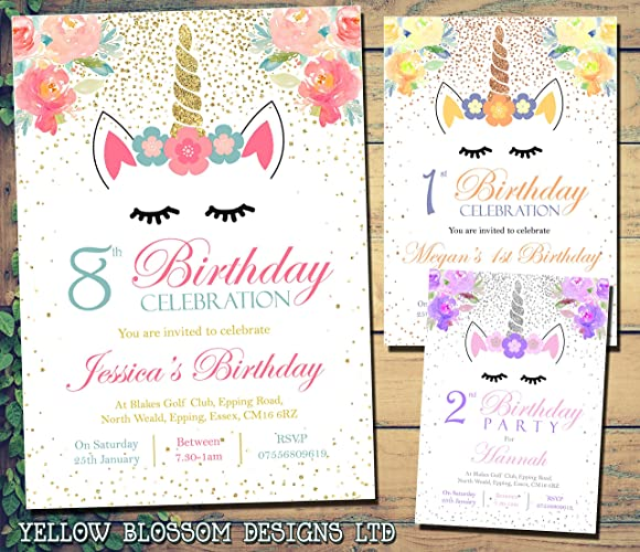 Personalised Magical Unicorn Birthday Party Invitations Boy Girl