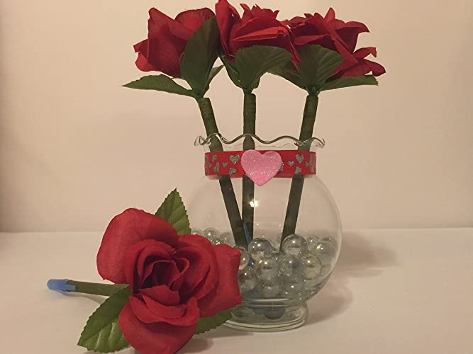Amazon.com: Red Rose Flower Pen Pot / Give the gift of love!!: Handmade