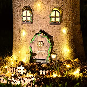 DARUNAXY Fairy Gnome Home Miniature Windows and Door with Fairy Lantern ,Fence and DIY Signposts Glow in Dark Miniature Fairy Garden Accessories for Trees, Kids Room, Lawn, Yard Decoration