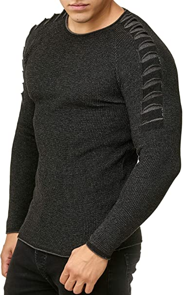 Red Bridge Hommes Manches Longues Pull Branchies Optique Sweater Basic Col Rond Mode Sweatshirt