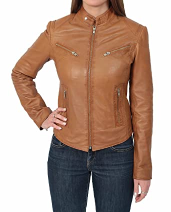 Ladies Genuine Leather Biker Style Slim fit Casual Jacket Khloe Tan (X-Small)