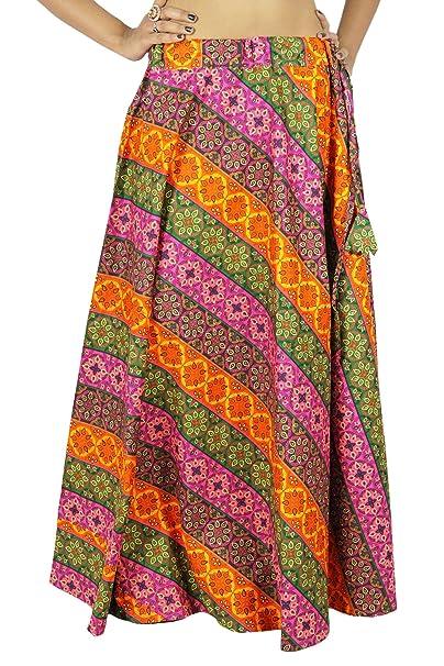 Las mujeres usan ropa de la playa de la falda larga de algodón maxi de Boho  del Hippie del cordón  Amazon.es  Ropa y accesorios ea10cffd9e13