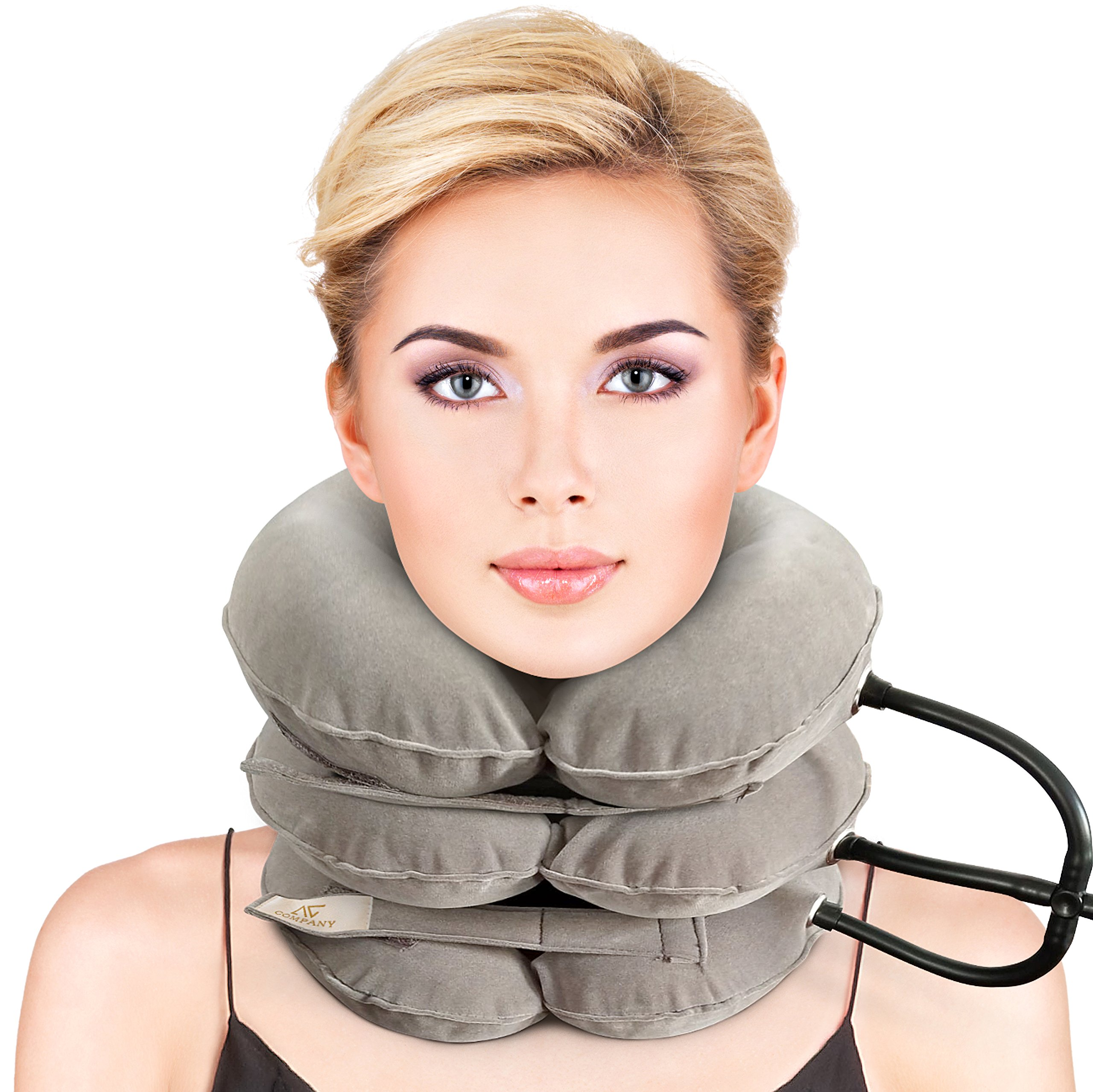 Cervical Neck Traction Device FDA Registered Inflatable, Home, Instant Pain Relief -for Chronic Neck and Shoulder Relieving Remedy(Grey)
