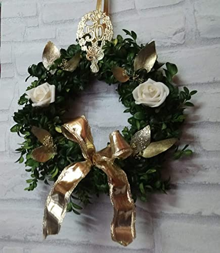 Buchskranz Goldene Hochzeit Buchsbaum Frisch In 3 Größen
