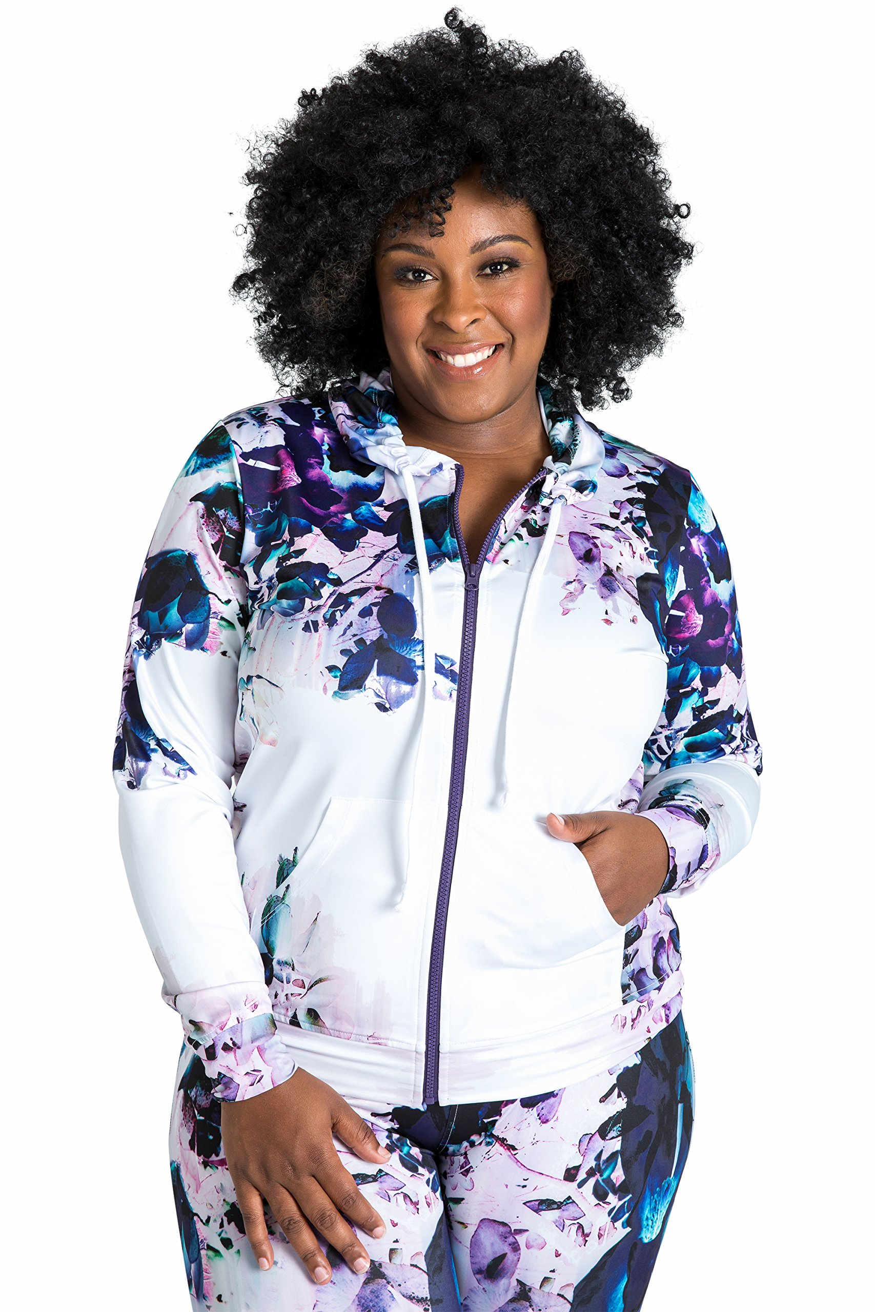 Poetic Justice Plus Size Women's Curvy Fit Active Zip-up Floral Print Poly Tricot Hoodie Size 3X