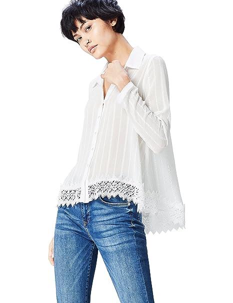 FIND Blusa Semitrasparente con Bajo de Encaje para Mujer, Marfil (Cream), 36