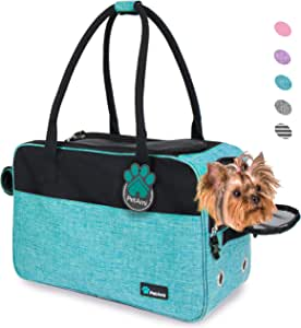 PetAmi Airline Approved Dog Purse Carrier | Soft-Sided Pet Carrier for Small Dog, Cat, Puppy, Kitten | Portable Stylish Pet Travel Handbag | Ventilated Breathable Mesh, Sherpa Bed (Turquoise)