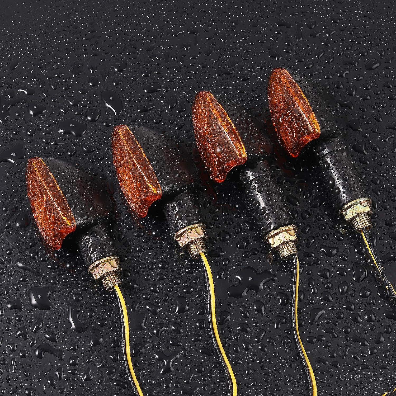 PROZOR Turn Signal Light 10W 4PCS High Power Bulb Motorcycle Turn Signal Indicators Amber Waterproof Brake Lights for Motorcycle Motorbike