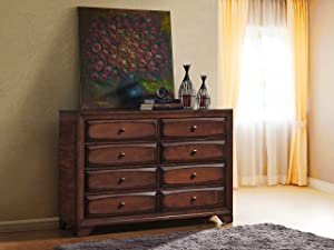 Roundhill Furniture B139D Oakland Wood 6 Drawers Dresser, Antique Oak Finish