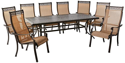 Hanover MANDN9PC Manor 9-Piece Rust-Free Aluminum Patio Dining Set Outdoor Furniture, Tan
