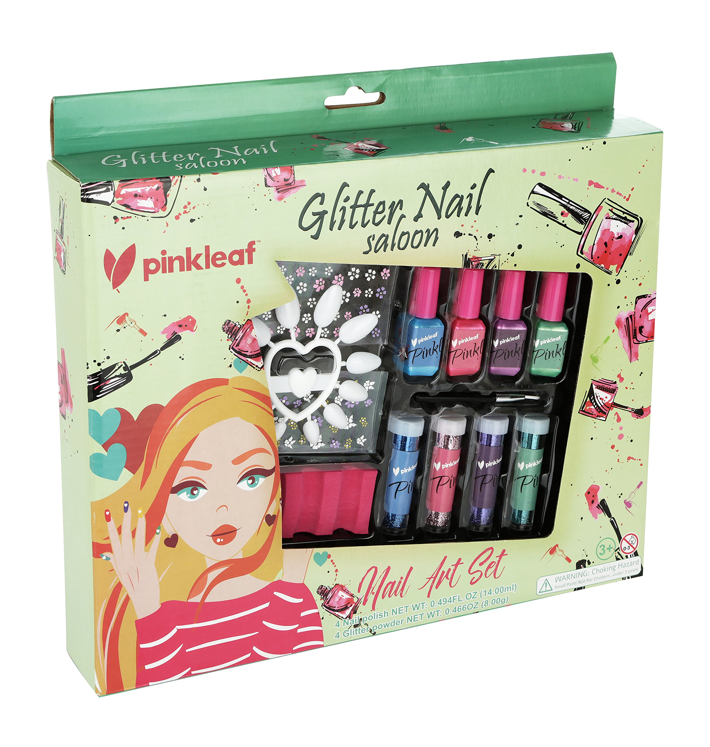 PinkLeaf Glitter Powder Nail Art Gift Kit for Kids 3+ - Non-Toxic Polish, Plastic Nails, Flower Stickers, Glittery Dust Pots & Applicator Brush