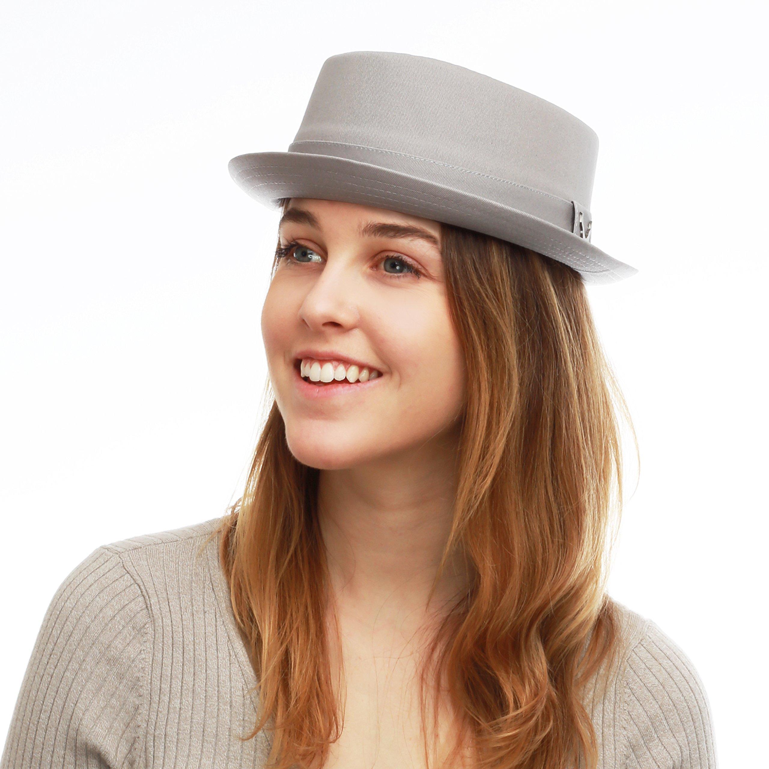 THE HAT DEPOT Black Horn Cotton Plain Pork Pie Hat (Large, Grey)