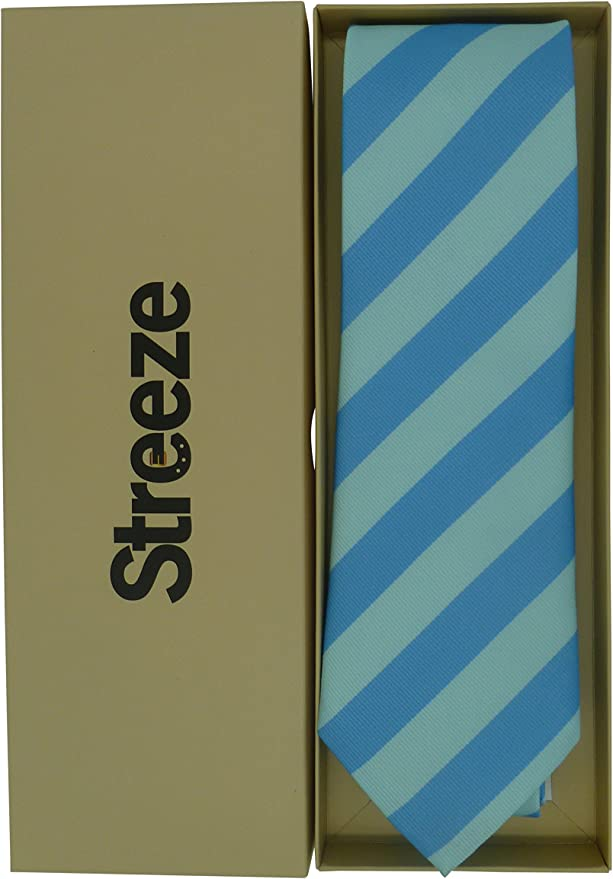 Streeze Corbatas de Rayas Sencillas para Hombres - Azul Celeste ...