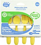 Green Eats 4 Pack Feeding Spoons and Forks, Yellow