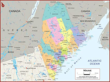 State Map Of Maine.Amazon Com Academia Maps Maine State Wall Map Fully Laminated