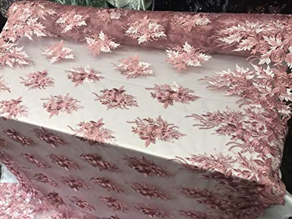 """50/"""" Sold by the yard White Bridal Floral Mesh w// Embroidery Beaded Lace Fabric"""