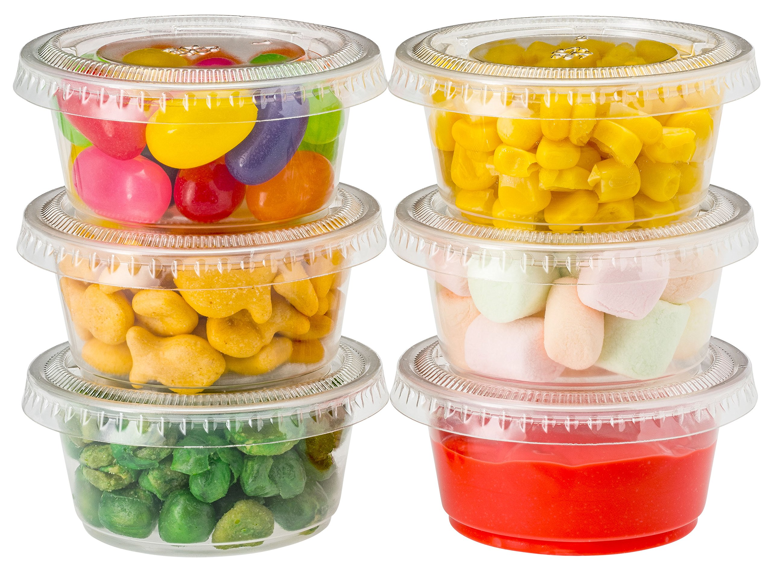 Plastic Portion Cups with Lids 2 oz. 150 Pack Condiment Sauce Snack Souffle Dressing, Jello Shot Cup Containers, BPA free - by DuraHome by DuraHome (Image #5)