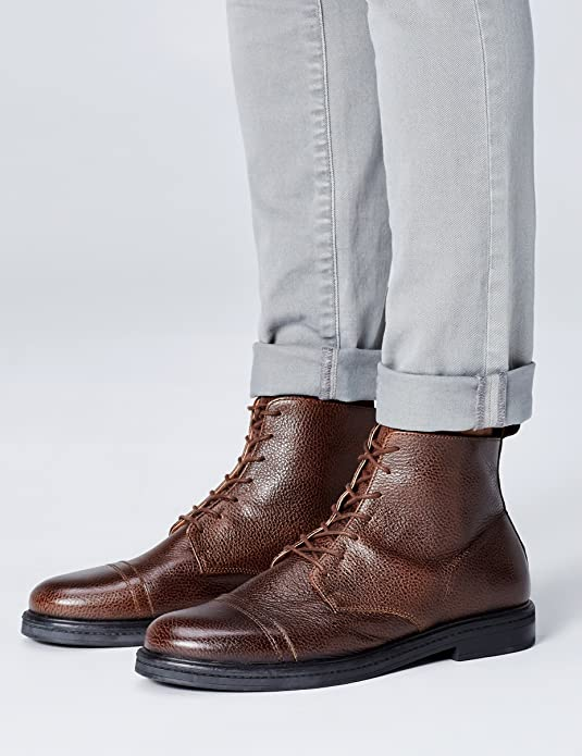 b8015ff34d0 FIND Botas de Cuero con Textura para Hombre  Amazon.es  Zapatos y  complementos