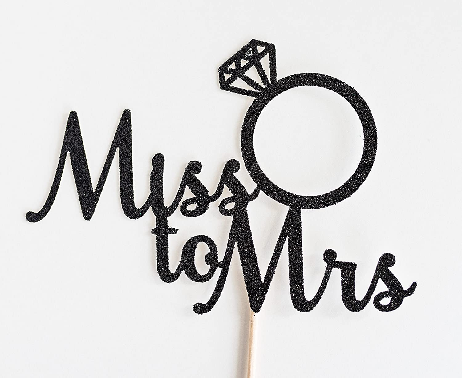 Black Glitter Miss To Mrs Script Cake Topper, Bridal Shower, Engagement Party, Bachelorette, Stagette, Ring