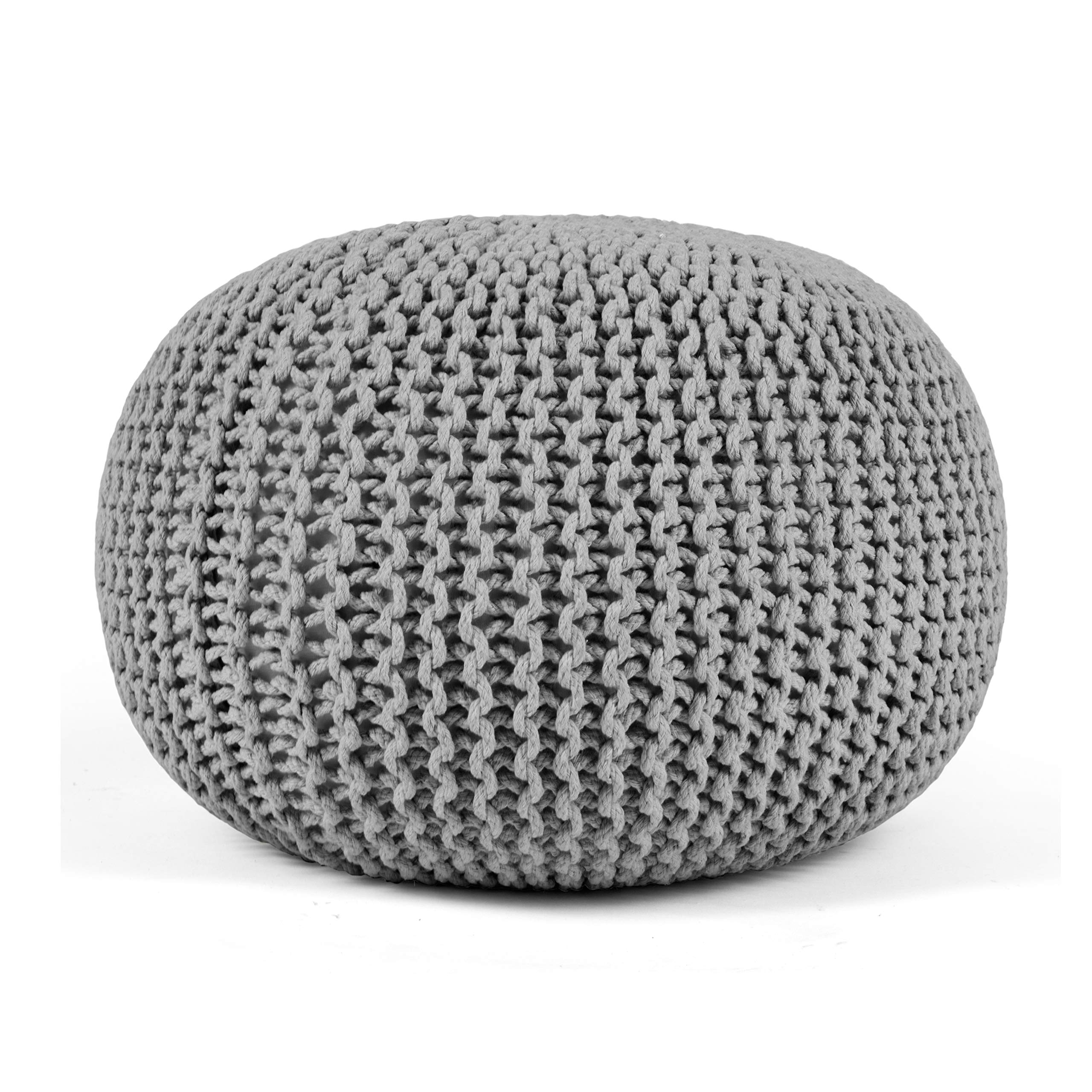 HYNAWIN Knit Pouf Floor Ottoman 100% Cotton Braid Cord Pouf Foot Stool Home Decorative Seat for Living Room, Bedroom - 20 Dia x 12 High - Gray by HYNAWIN
