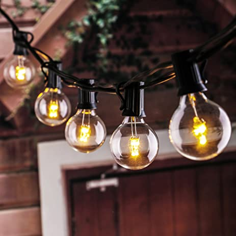 25Ft LED G40 String Lights With 25 LED Warm Globe Bulbs UL Listed For Indoor