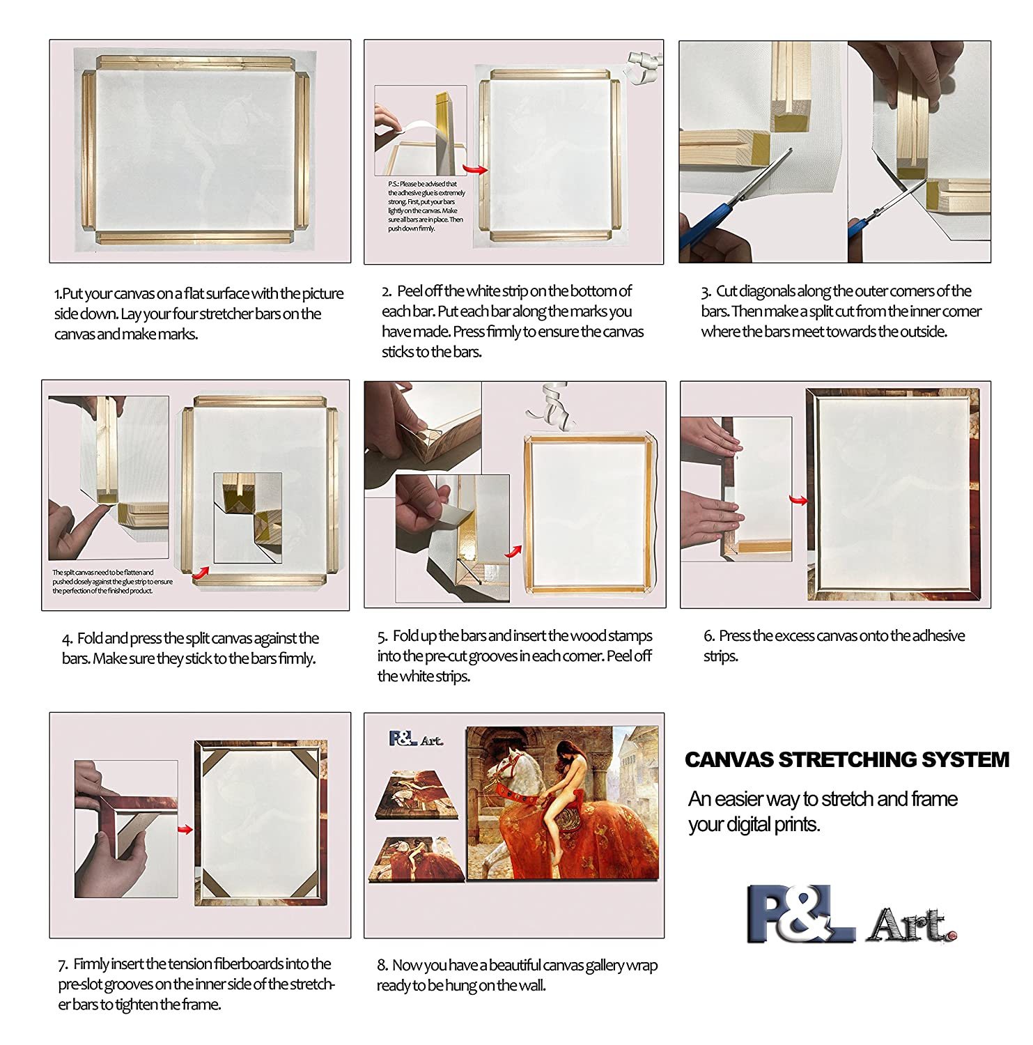Framed Picture Accessories Easy to Build Canvas Stretching System DIY Solid Wood Canvas Frame Kit 30 x44 Inch for Oil Painting /& Wall Art Customized Wooden Art Frames for Paintings /& Canvases