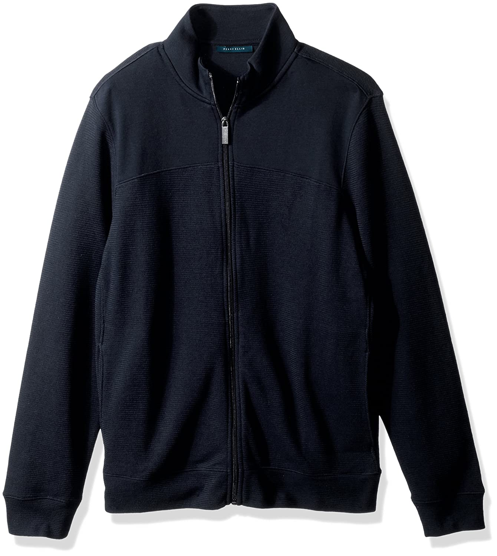 Perry Ellis mens standard Cotton Blend Full Zip Texture Knit Jacket 4CHK7101