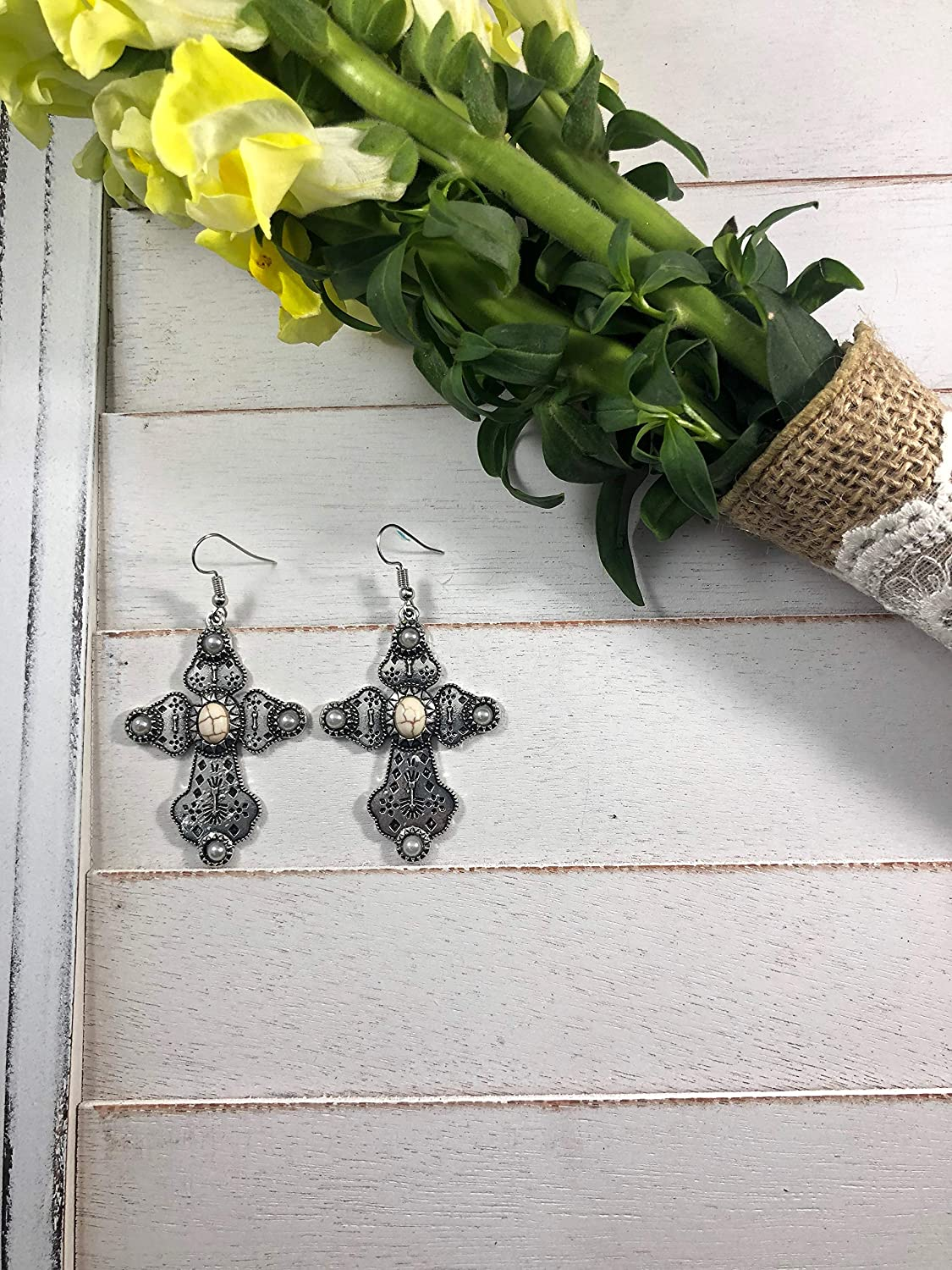 NoraJae Gems Detailed Silver Cross Earrings with White /& Pearl Stone Accent