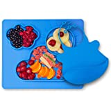 Kenley Feeding Silicone Placemat Suction Plate for Toddlers - Highchair Weaning Mat with Bowl for Children Kids & Baby - Microwave Safe Non-slip Dinnerware Tray with Dividers - Free Matching Bib