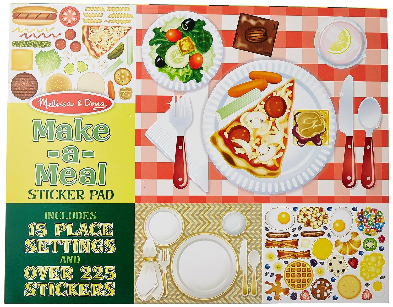 Melissa Doug Sticker Pad Make a Meal 225 Food Stickers