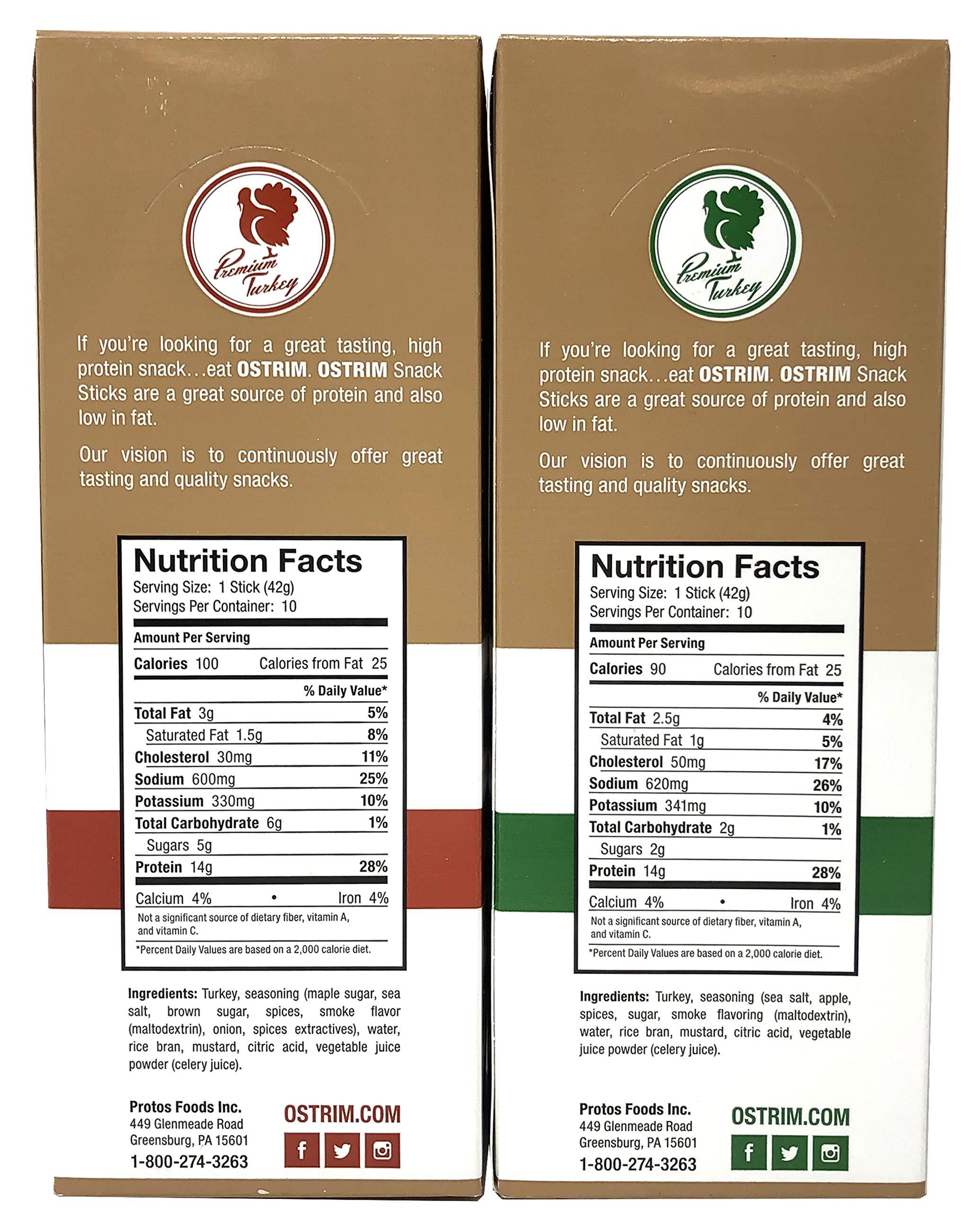 Ostrim Turkey Meat Snack Sticks - Maple Brown Sugar & Applewood - Pack of 20 (10 of each flavor)   by Ostrim (Image #2)