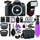 Canon EOS 77D DSLR Camera Body with + Flash + LED Video Light, Close-Up Lens Set, 32GB Card + Accessory Bundle