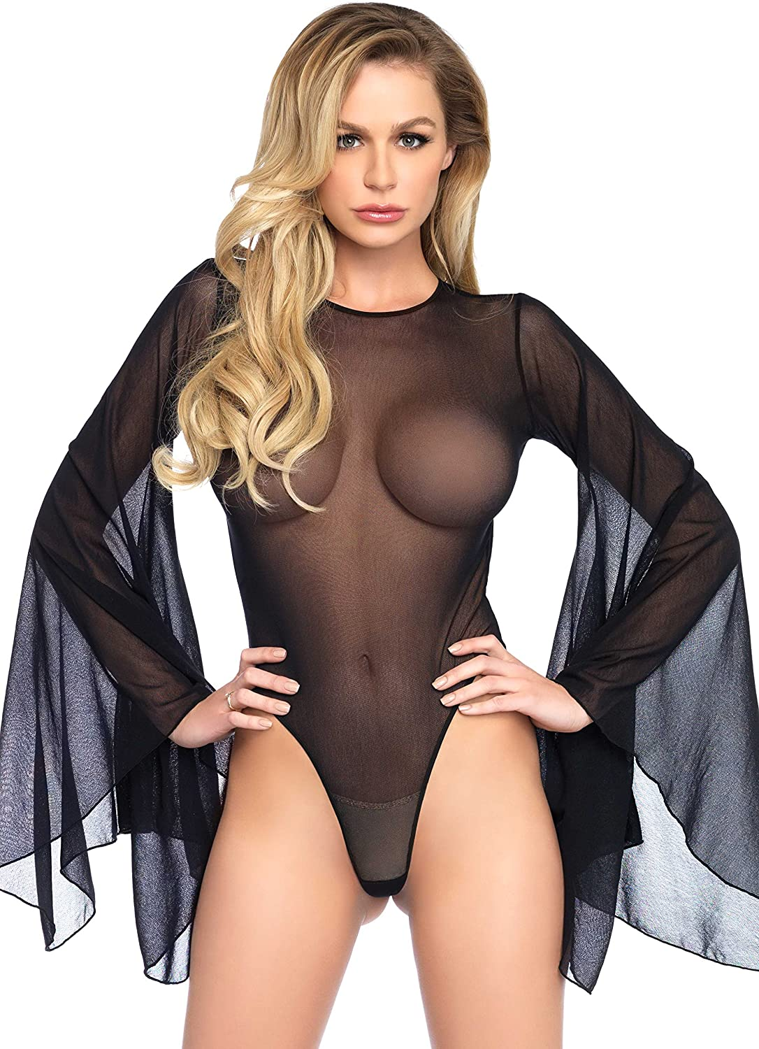 Leg Avenue Womens Mesh bell sleeve thong back bodysuit: Clothing