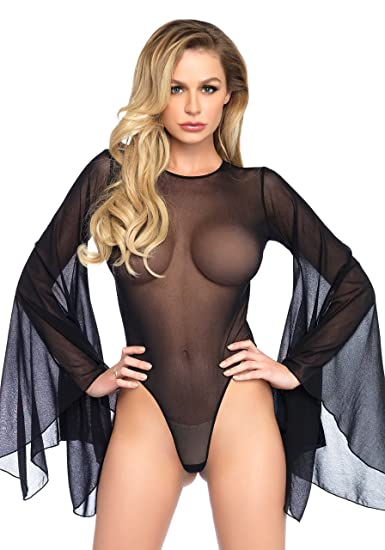 b1bcf8d65c Sexy Black See Through Mesh Sheer Long Bell Sleeved Teddy Body Thong Open  Back Bodysuit Lingerie Clubwear Festival S M L  Amazon.co.uk  Clothing