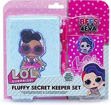 Surprise L.O.L Erasers and LOL Surprise Bag LOL Mini Diary Set for Girls UV Pen Plush Contains A6 Diary Glitter and Sequin Diaries. Choice of Plush
