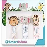 SmartInfant Monkey, Giraffe, and Elephant Design Pacifier Clip, 3-Pack
