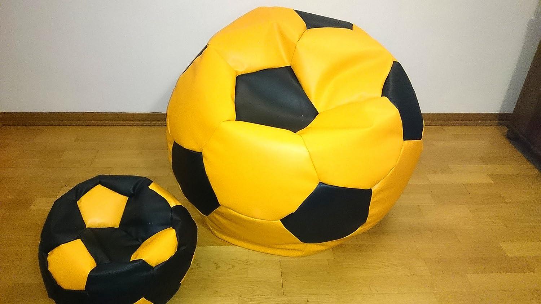 Egato Set 2 puf, Puf, Cab, Bean bagfootball, balón fútbol 100 cm XXL + 40 cm reposapiés