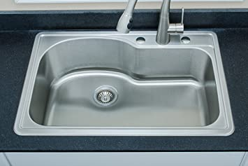 Wells Sinkware DTT3322-9 18-Gauge Single Bowl Top-Mount Kitchen Sink ...
