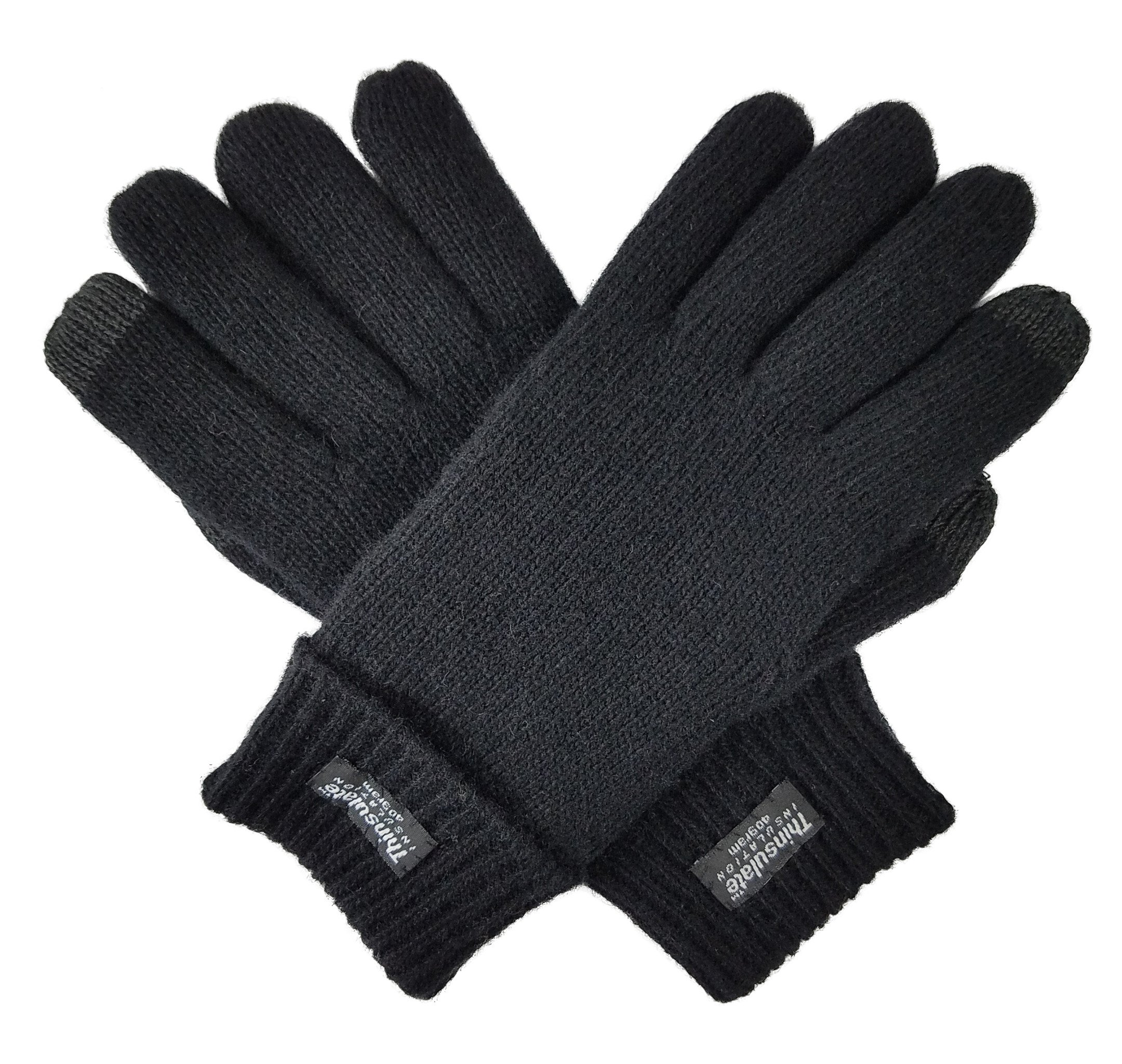 Bruceriver Ladie's Wool Knit Gloves with Thinsulate Lining Size S (Black Touchscreen)