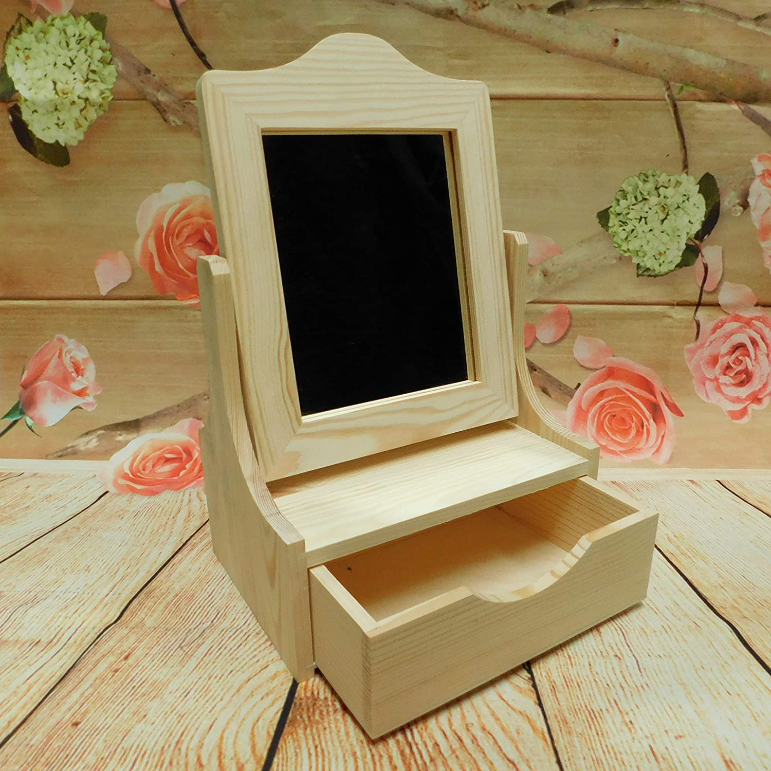HomeDecoArt New Plain Large Wooden Jewellery/Cosmetics Vanity with Mirror - Wooden dressing Table