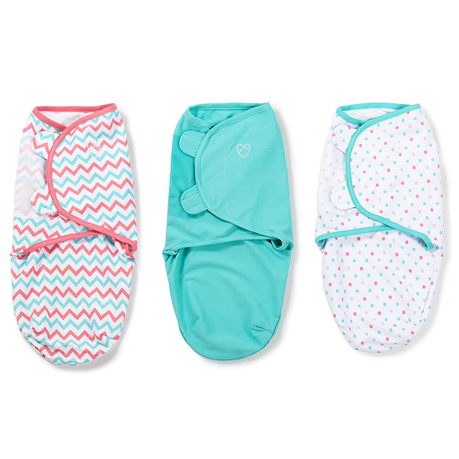 SwaddleMe Original Swaddle (Small, Zig Zag Multi, Teal and Dot, Pack of 3) 87256