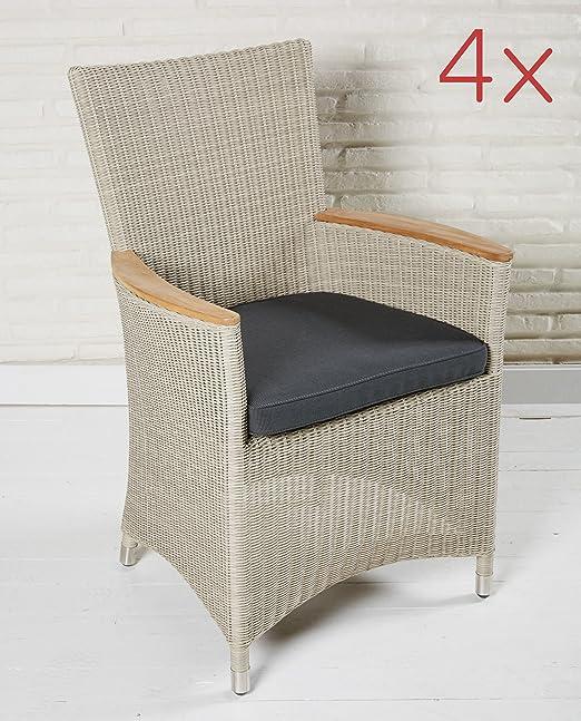 Juego de 4 muebles de jardín jardín Sillas ratán Terraza Sillón Beige Sillas Jardín: Amazon.es: Jardín